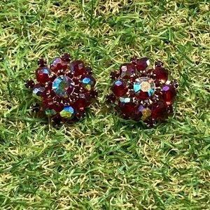 Vintage Weiss Aurora crystal ruby red gold